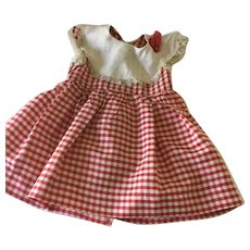 Taffeta Red and White Checkered Dress for larger doll