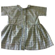 Antique Cotton Plaid dress suitable for larger doll