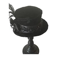 Black velvet artisan top hat