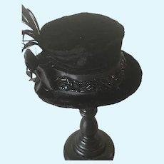 Black velvet artisan top hat