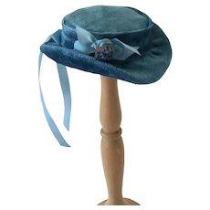"""Blue Velvet  Doll Hat sized for 15-16 """" fashion  including resin Huret"""