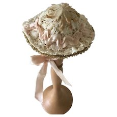 Handcrafted  Lace and Straw doll hat