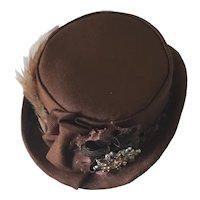"Handcrafted Brown Silk Hat for doll of 10"" head circumference"