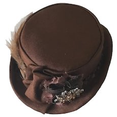 """Handcrafted Brown Silk Hat for doll of 10"""" head circumference"""