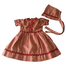 Vintage  matching doll dress and bonnet