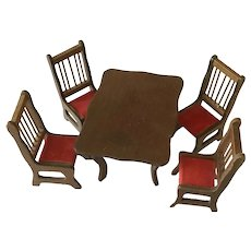Dollhouse  wooden dining room table and  4 chairs