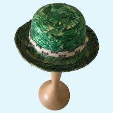 Vintage green straw doll  hat