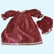 Red Calico Dress for larger doll