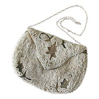 Very Old  Small White Beaded Purse