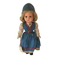 "Vintage 12"" Celluloid ""Gura"" Doll costumed from Holland"