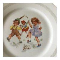 Bavarian Children's plate-Girl , Boy , Dog and Puchonelle