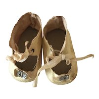 Antique white oilcloth doll shoes
