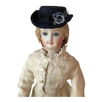 Handcrafted fashionable  doll hat- antique blue silk