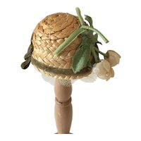 Vintage straw cloche style doll  hat