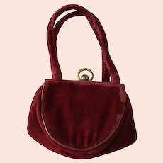 Burgundy  Red Velvet Child's Purse suitable for large doll