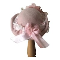 Pink Derby style  Doll Hat sized for Dollspart Huret and Friends