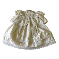 White cotton doll dress with eyelet trim