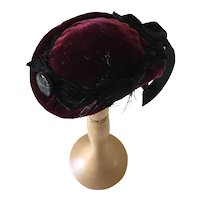 Burgundy Velvet Derby Style Fashion Doll Hat