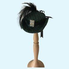Artisan Made Hunter Green Doll Hat