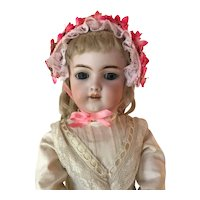 Artisan made Pink straw doll bonnet