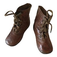Antique children's brown leather lace up  boots