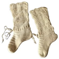 Antique knit baby socks