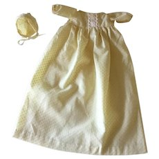 Small white cotton baby doll dress and bonnet