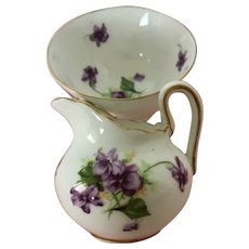 Doll size Royal Chelsea - Painted violets-Pitcher & Bowl