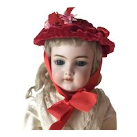 Red velvet artisan made doll bonnet
