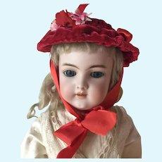 Red velvet artisan made doll bonnet