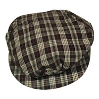 Vintage Madras Plaid Cap for larger doll