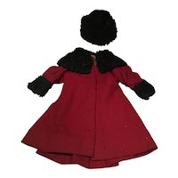 Dolls Antique Red wool and black lambs wool trim coat and hat