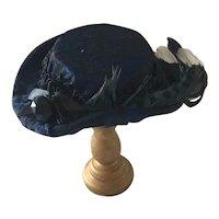 Handcrafted  Dolls Blue Silk Fashion Hat