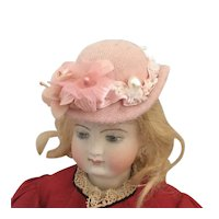 Artisan made Dolls Pink Wool Derby Style Hat