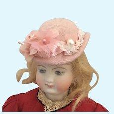 Artisan made Dolls Pink Wool Derby Style Hat