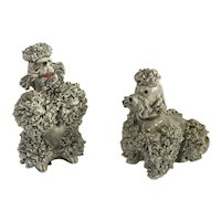 Pair vintage Gray Poodle Figurines