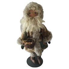 Vintage artisan made oilcloth Santa