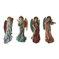 Lot of 4 Bisque Musical Angel Ornaments