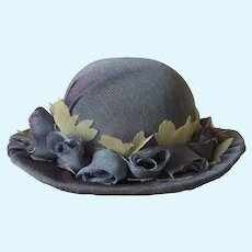 Lavender  doll sized  hat with lavender silk roses