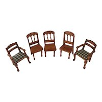 Lot 5 Wooden Dollhouse Chairs