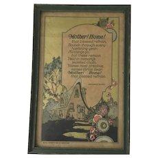 """Framed Vintage """" Mother Home"""" Poem with Graphics"""
