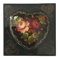 Heart Motif Russian Lacquer Box