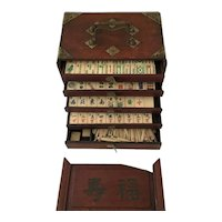 Antique Mahjong Set- Wooden Cabinet with Bamboo & Bone Tiles