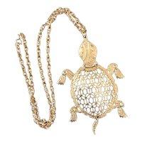 Vintage Gold Tone Filagree Movable  Turtle Necklace