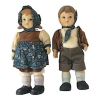 "Pair All Bisque 10"" Vintage Dolls in the likeness of Hummels"