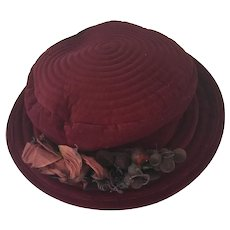 Vintage Burgundy Velveteen Ladies Hat