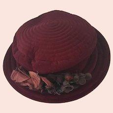 Vintage Burgundy Velveteen Ladies Hat