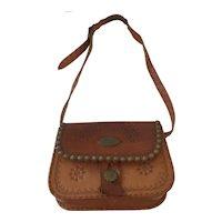 Vintage Leather Tooled  Handcrafted  Handbag