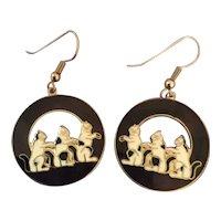 Cloisonné Pierced Cat Earrings