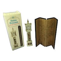 Petite Princess Dollhouse Furniture- Grandfather Clock & Folding Screen
